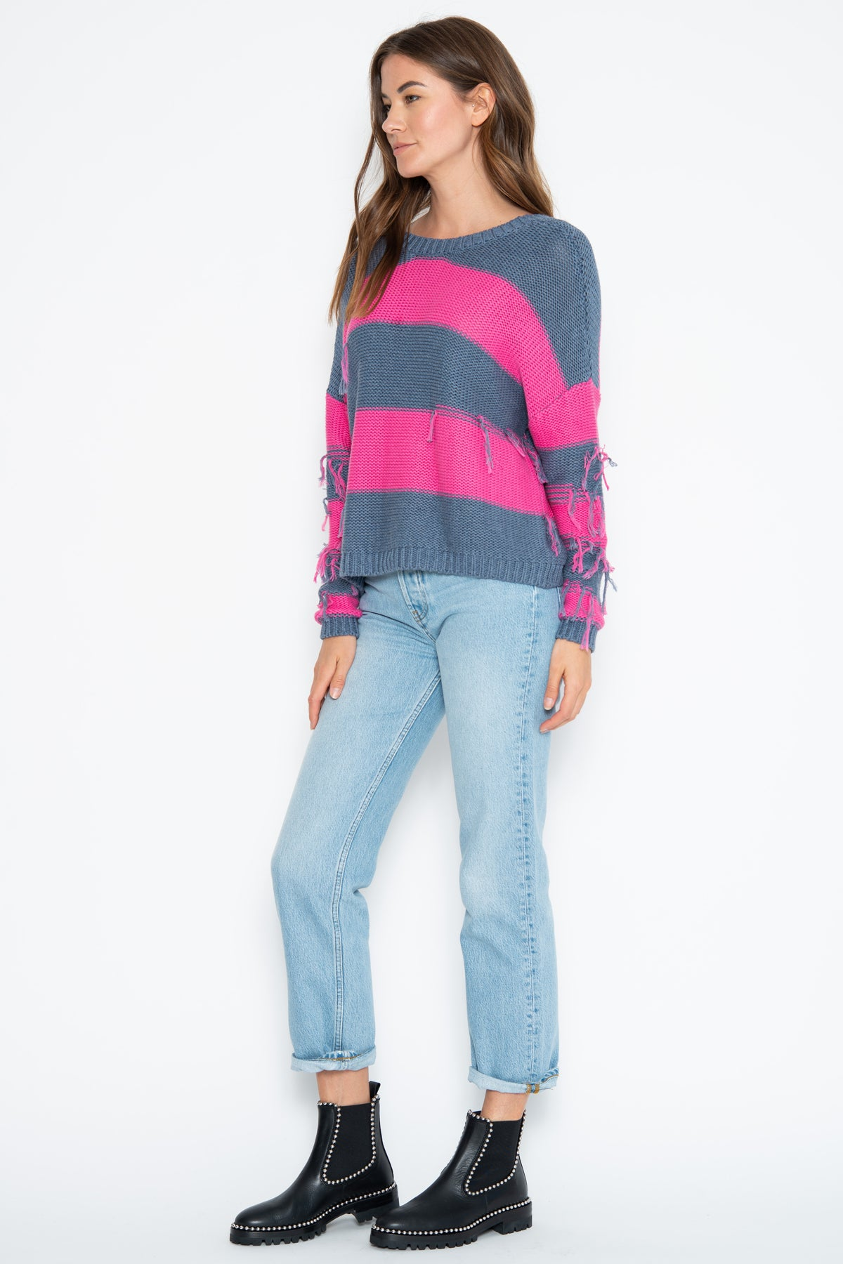 Lexie 2way Pullover - Denim/Pink Shock Combo
