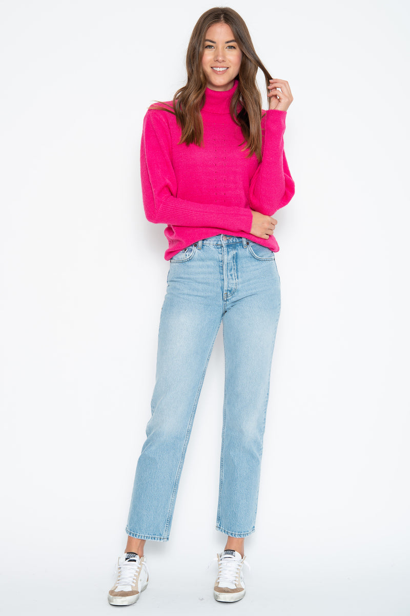 Leighton Turtle Neck - Pink Shock
