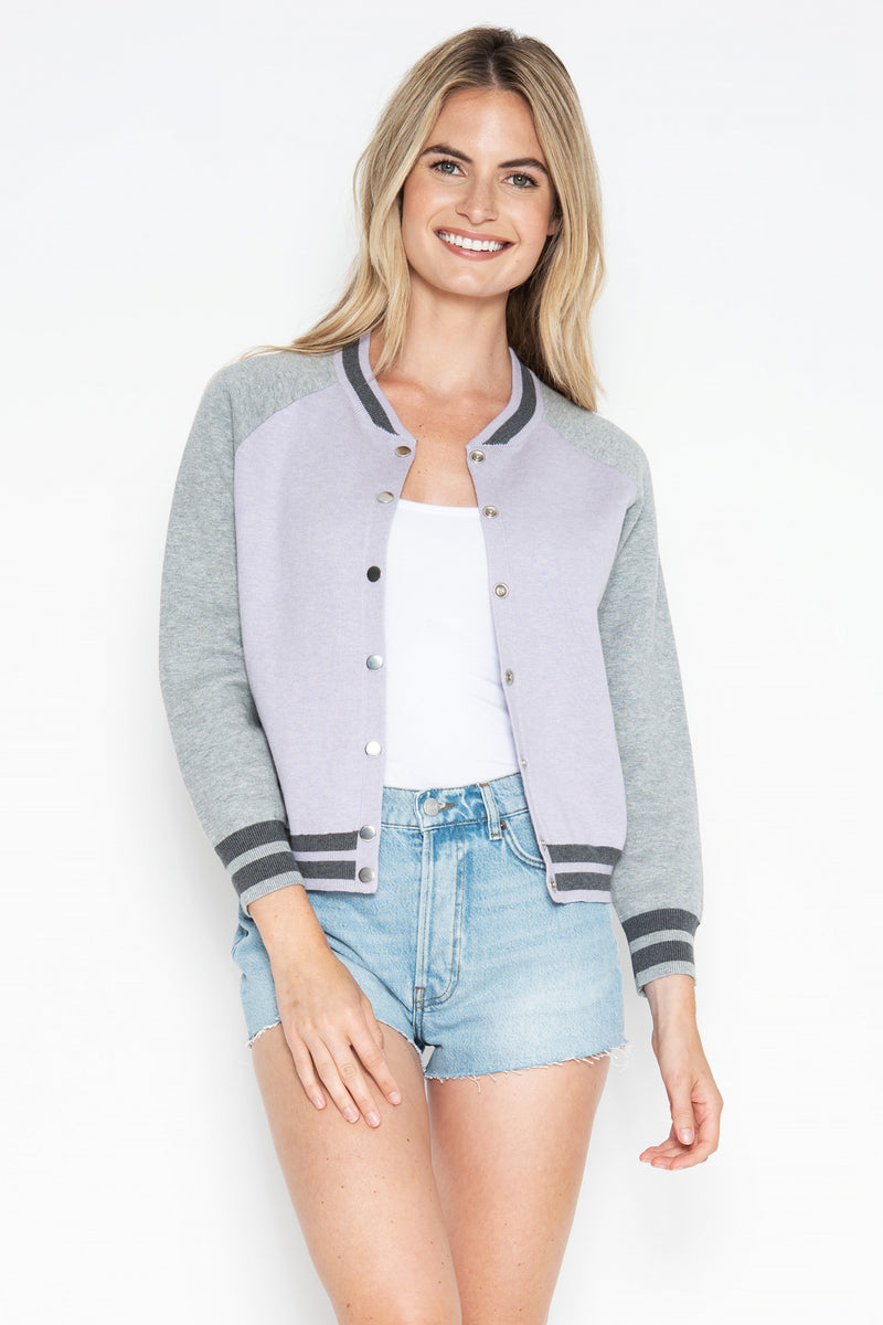 Quinn Baseball Jacket - Lilac/Oxford Combo