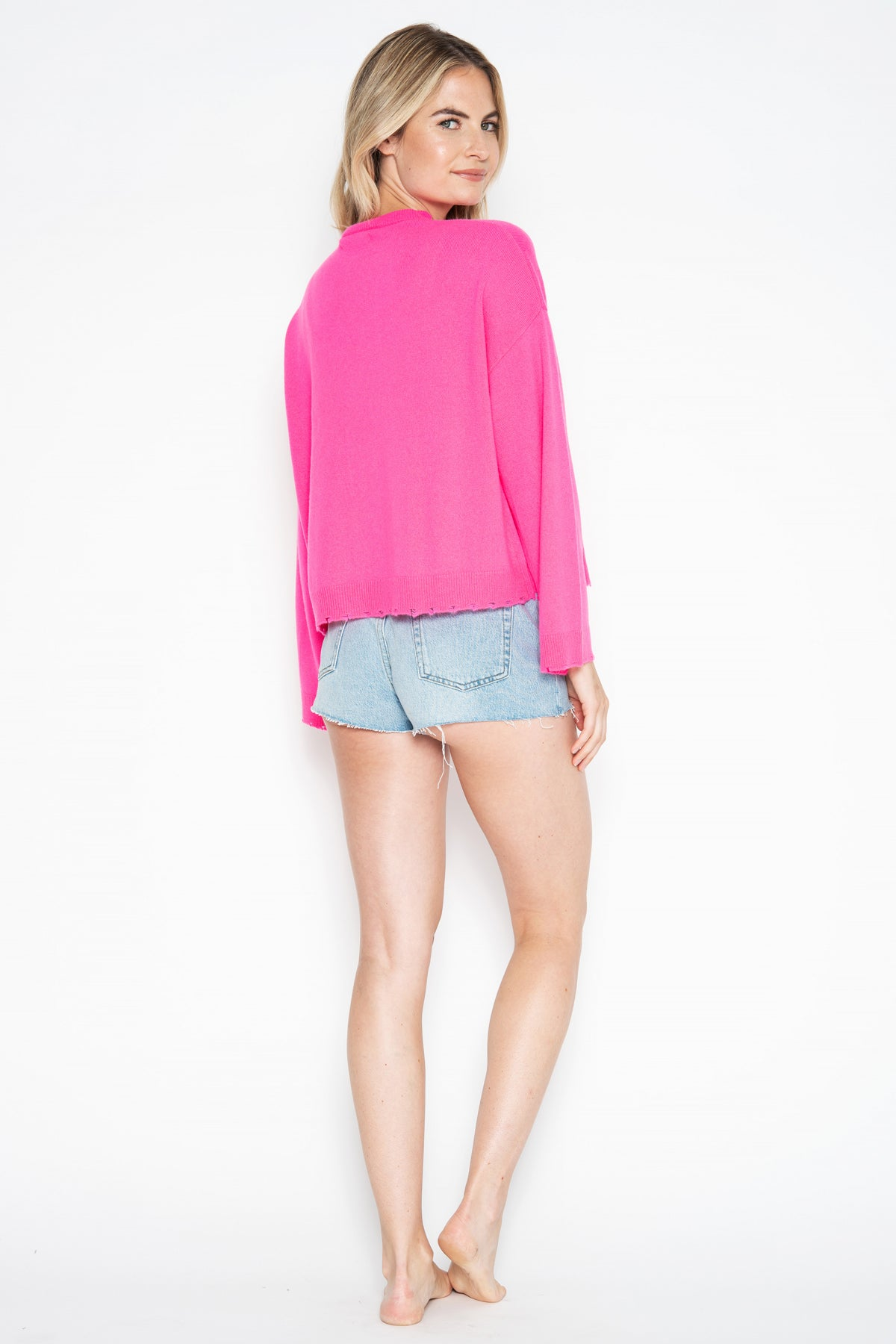 Porter Cashmere Open Cardi - Pink Glo