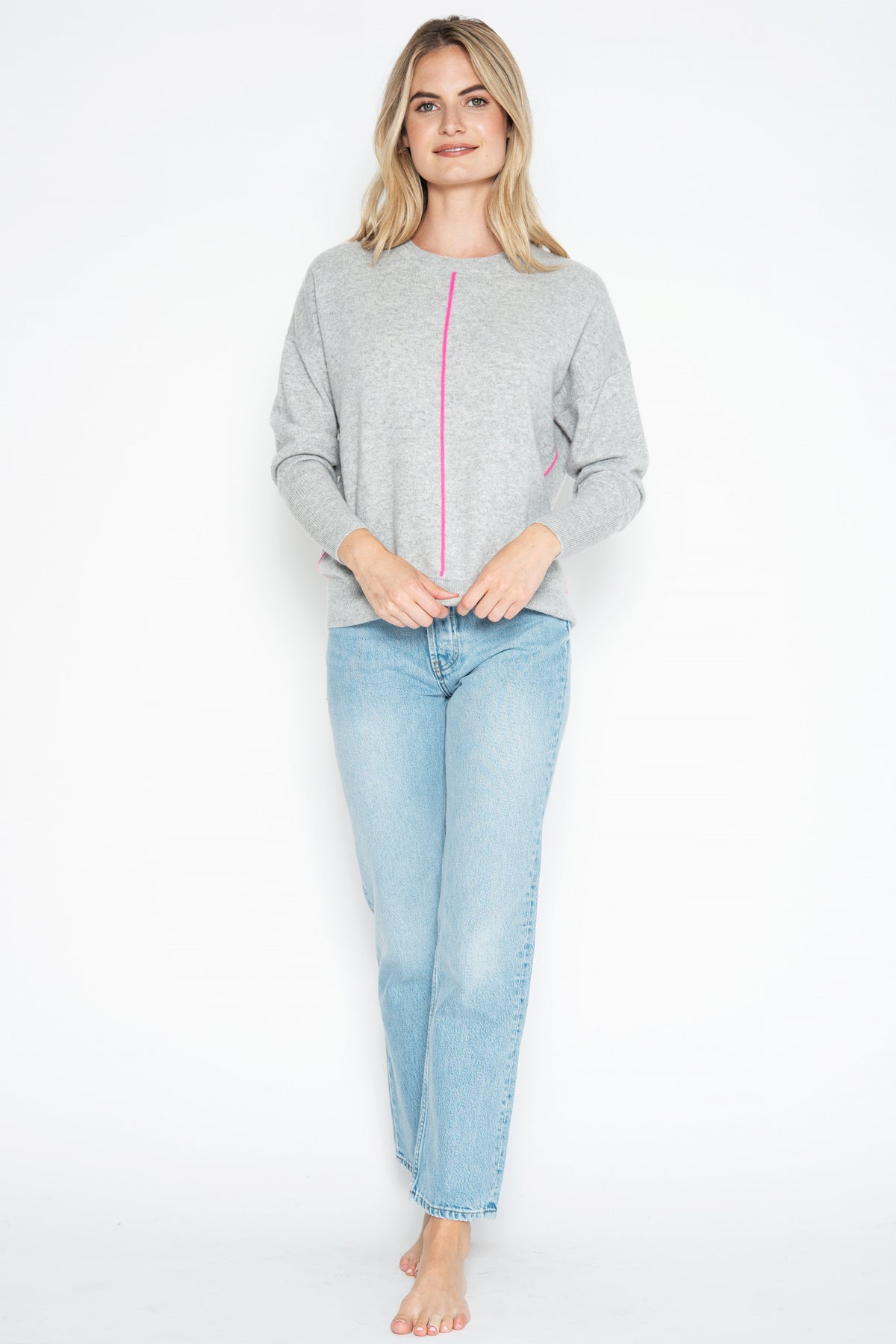 Remy Cashmere Pullover - Oxford/Pink Glo