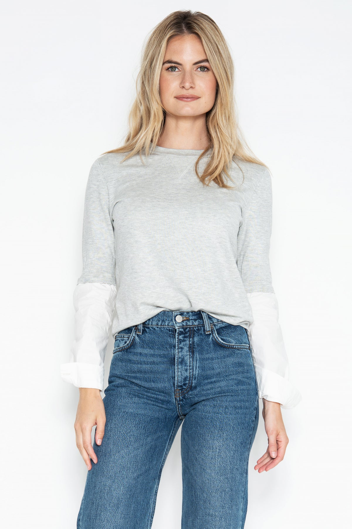 Jackie Poplin Sleeve Top - Silver Shadow