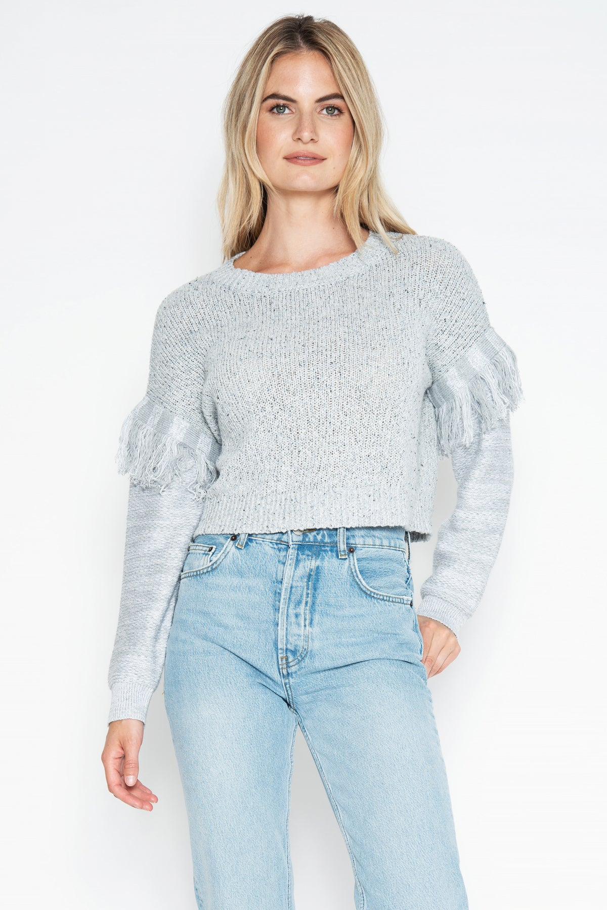 Cambridge Fringe Pullover - Silver/Denim Combo