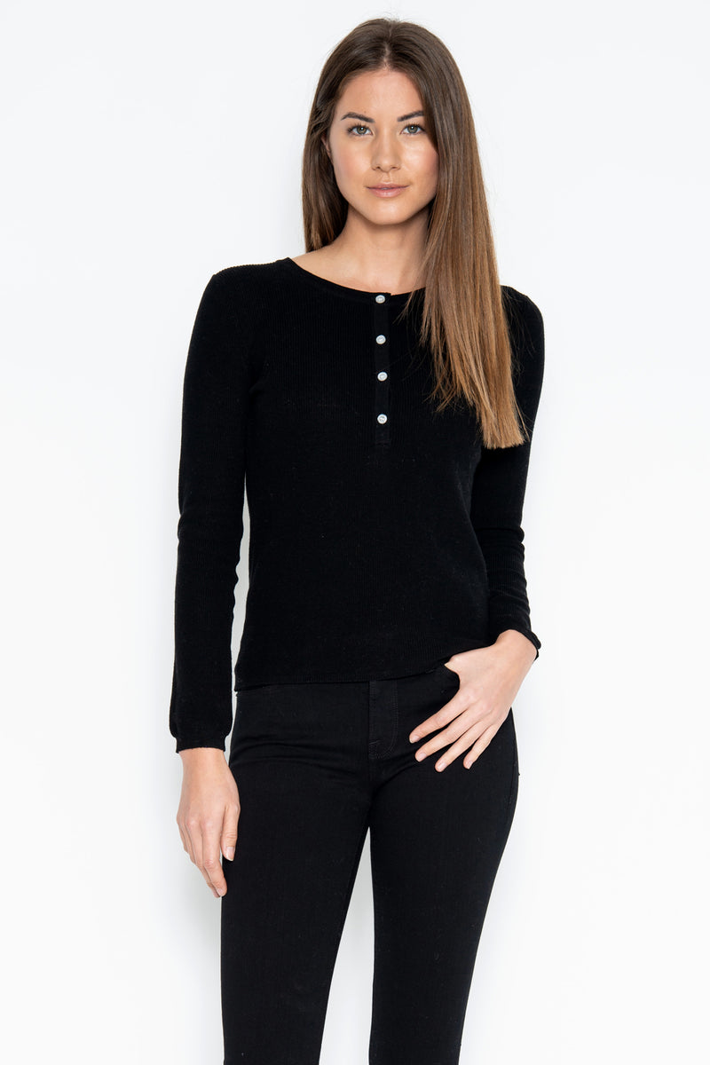 Sterling L/S Henley - Black