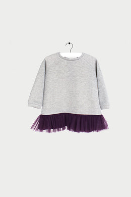 Silver Sweatshirt with Burgundy Layer for Girl