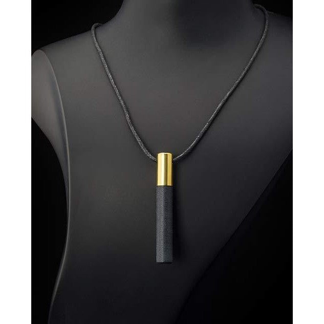 Lockstone One Brass Pendant & Black Stone - Tittup Unique Aromatherapy & Jewellery