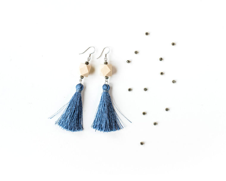 Pyrite Tassel Earrings with Nickel-Free Surgical Steel Silver