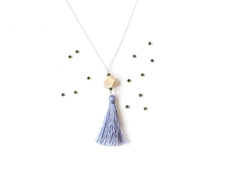 Pyrite Tassel Pendant on Silver Chain