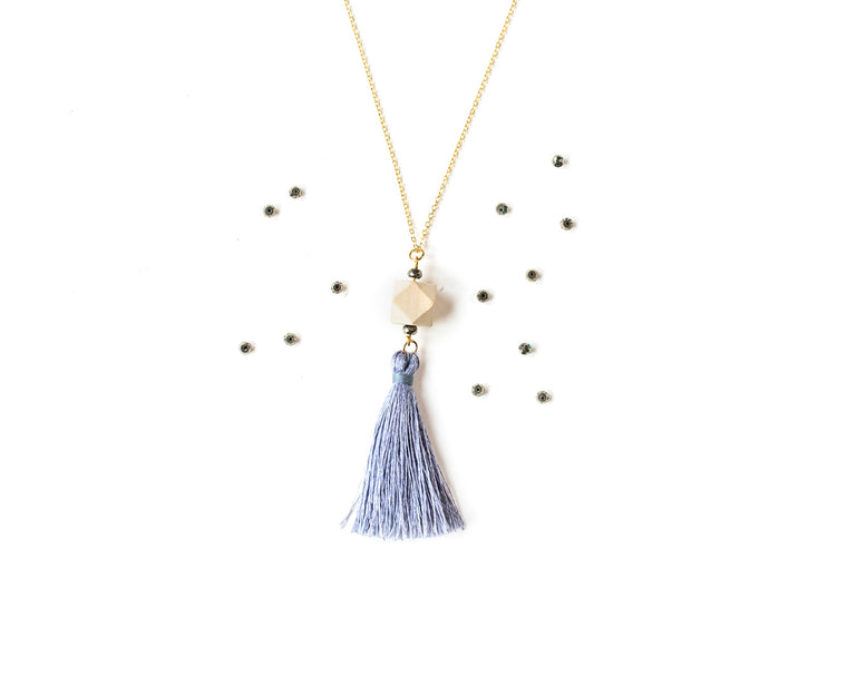 Pyrite Tassel Pendant on Gold Chain