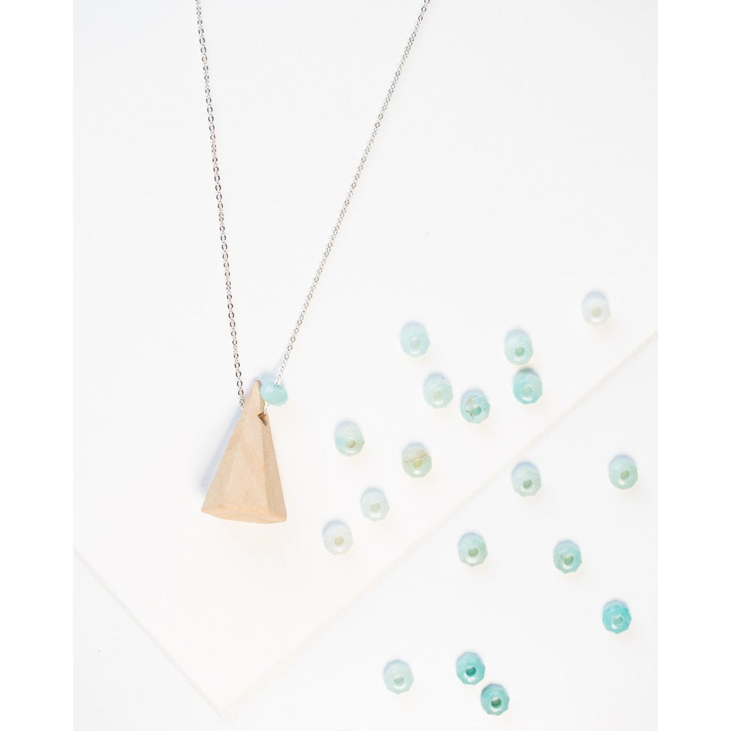 Mountain Wood and Gemstone Pendant on Silver Chain - Tittup Unique Aromatherapy & Jewellery