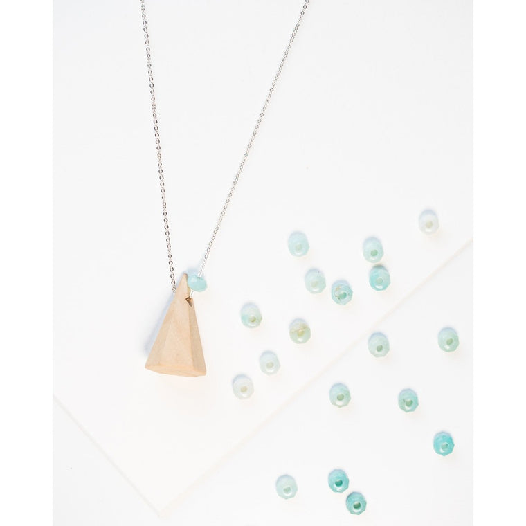 Mountain Wood and Gemstone Pendant on Silver Chain