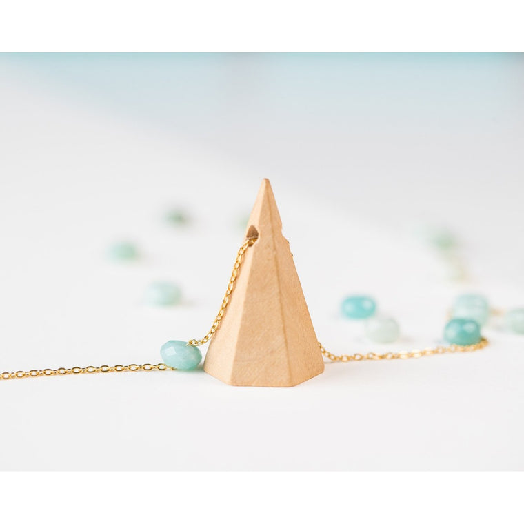 Mountain Wood and Gemstone Pendant on Gold Chain