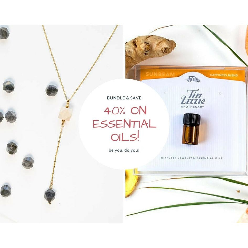Wood and Gemstone Drop + Essential oil - Tittup Unique Aromatherapy & Jewellery