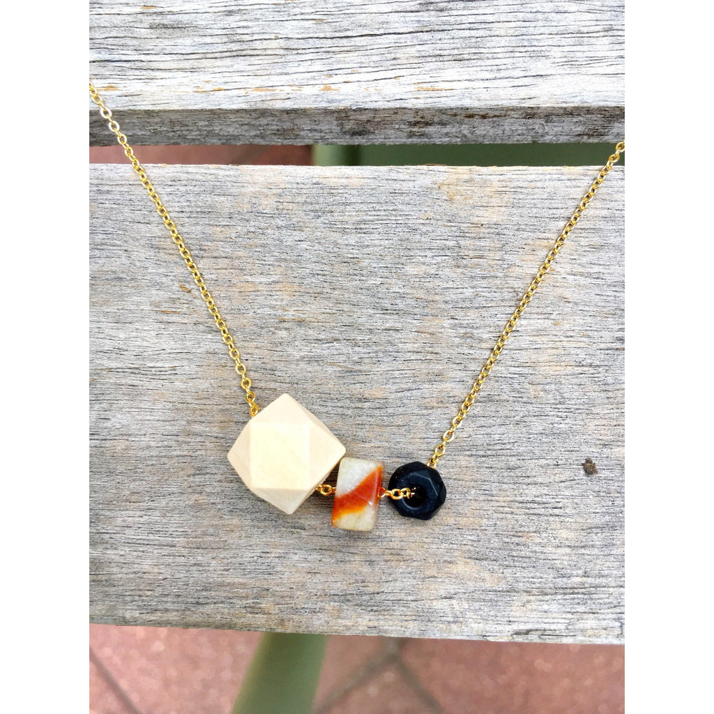 Wood, Flat Gemstone Bead and Black Onyx on Gold Chain - Tittup Unique Aromatherapy & Jewellery