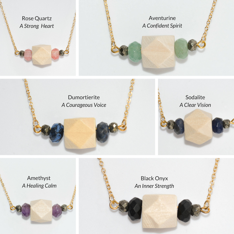 Wood, Gemstone & Pyrite Bar on Gold Chain - Tittup Unique Aromatherapy & Jewellery