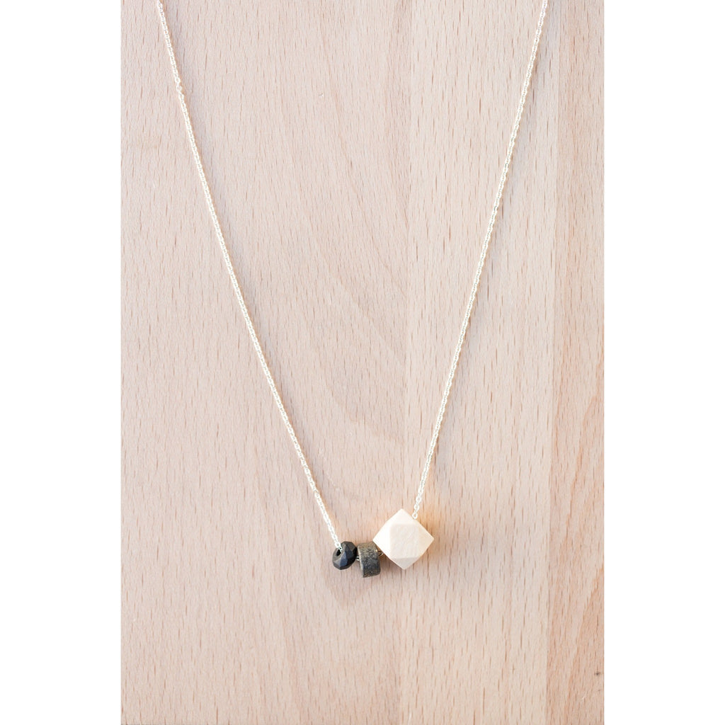 Wood, Flat Gemstone Bead & Black Onyx on Silver Chain - Tittup Unique Aromatherapy & Jewellery