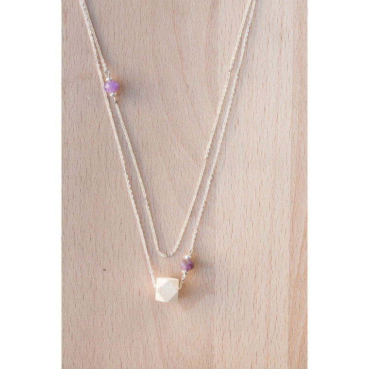Layered Wood and Double Gemstone on Silver Chain - Tittup Unique Aromatherapy & Jewellery