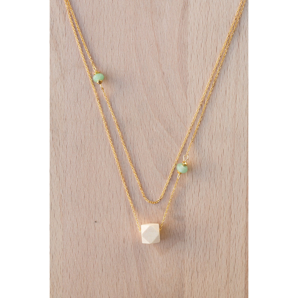 Layered Wood and Double Gemstones on Gold Chain - Tittup Unique Aromatherapy & Jewellery