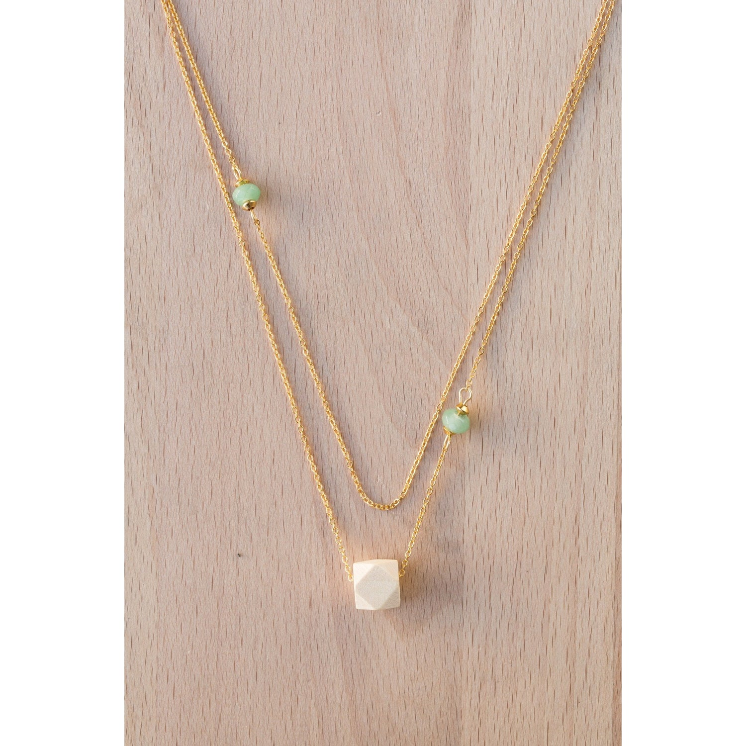 Layered Wood and Double Gemstones on Gold Chain