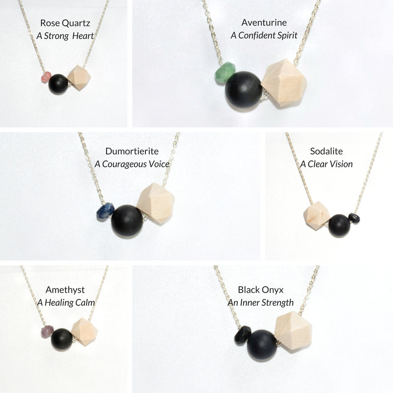 Wood, Black Agate and Gemstone Bead on Silver Chain - Tittup Unique Aromatherapy & Jewellery