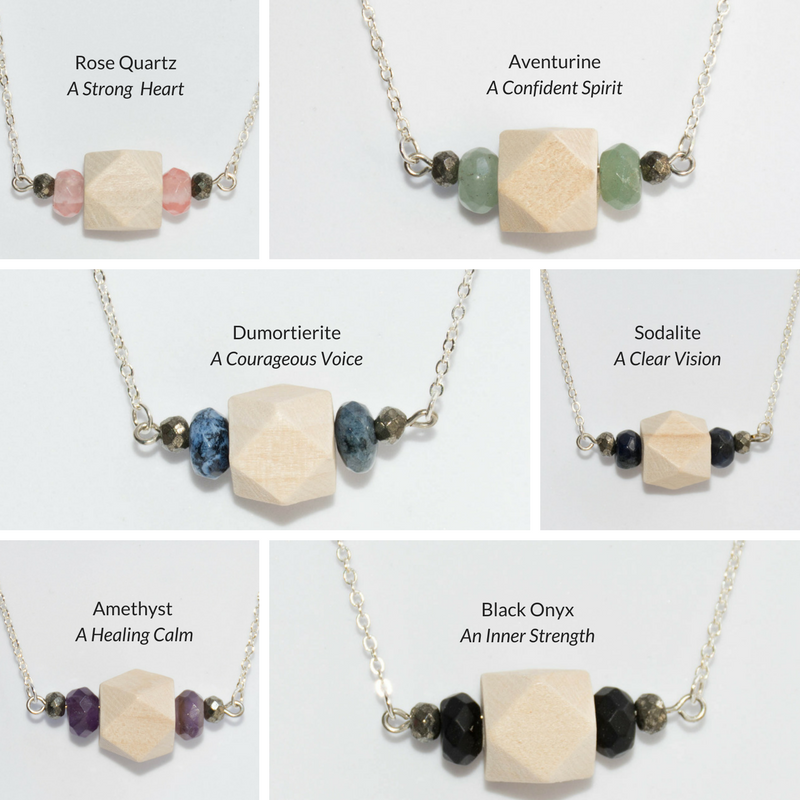 Wood, Gemstone & Pyrite Bar on Silver Chain - Tittup Unique Aromatherapy & Jewellery