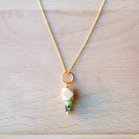 Wood, Druzy Pyrite & Gemstone Pendant on Gold Chain