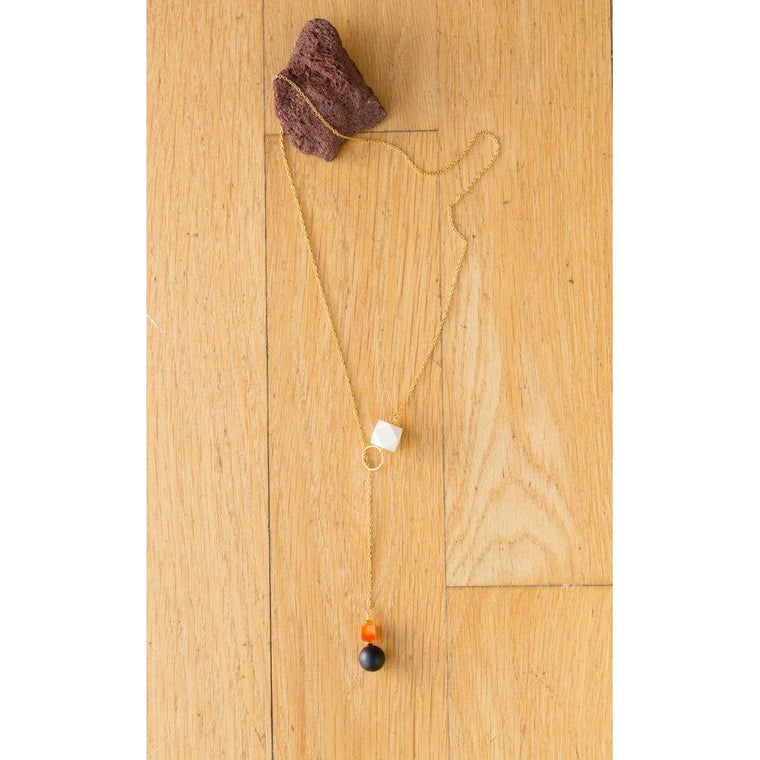 Wood, Black Agate and Carnelian Lariat Drop on Gold Chain