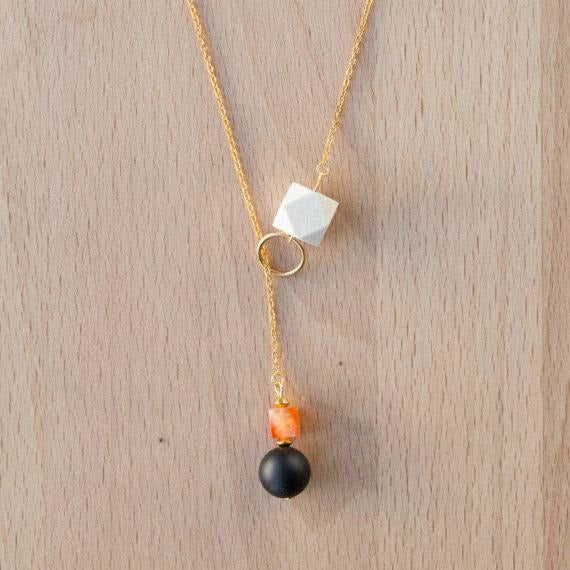 Wood, Black Agate and Carnelian Lariat Drop on Gold Chain - Tittup Unique Aromatherapy & Jewellery