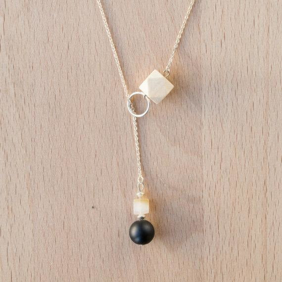 Wood, Black Agate and Carnelian Lariat Drop on Silver Chain