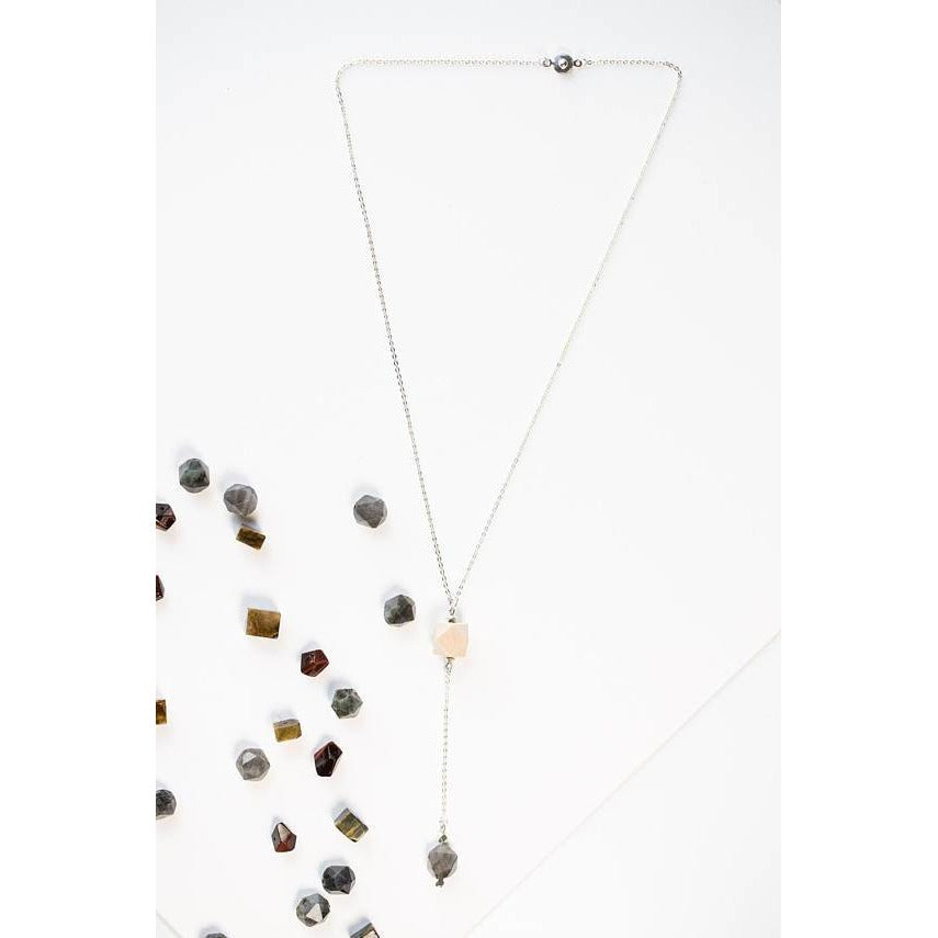 Wood and Geometric Drop on Silver Chain