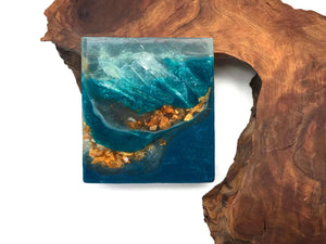 Mermaid Blue Polished Agate Square Soap