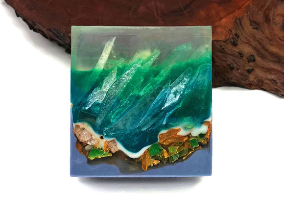 Emerald Polished Agate Crystal Square Soap