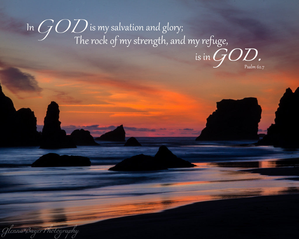 A blue, orange sunset at Bandon Beach in Oregon with scripture verse.
