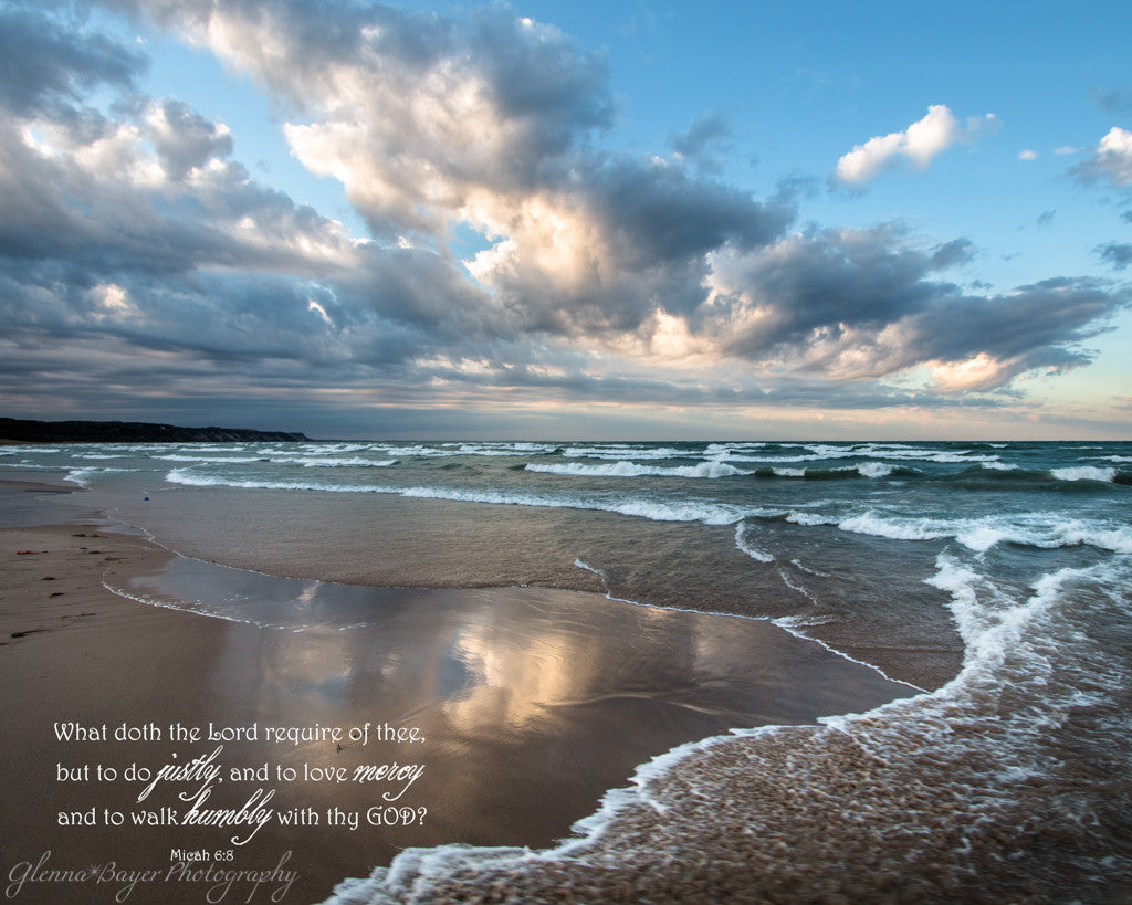 Waves across beach  on Lake Michigan with scripture verse