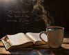 Steaming cup of coffee and Bible on crate