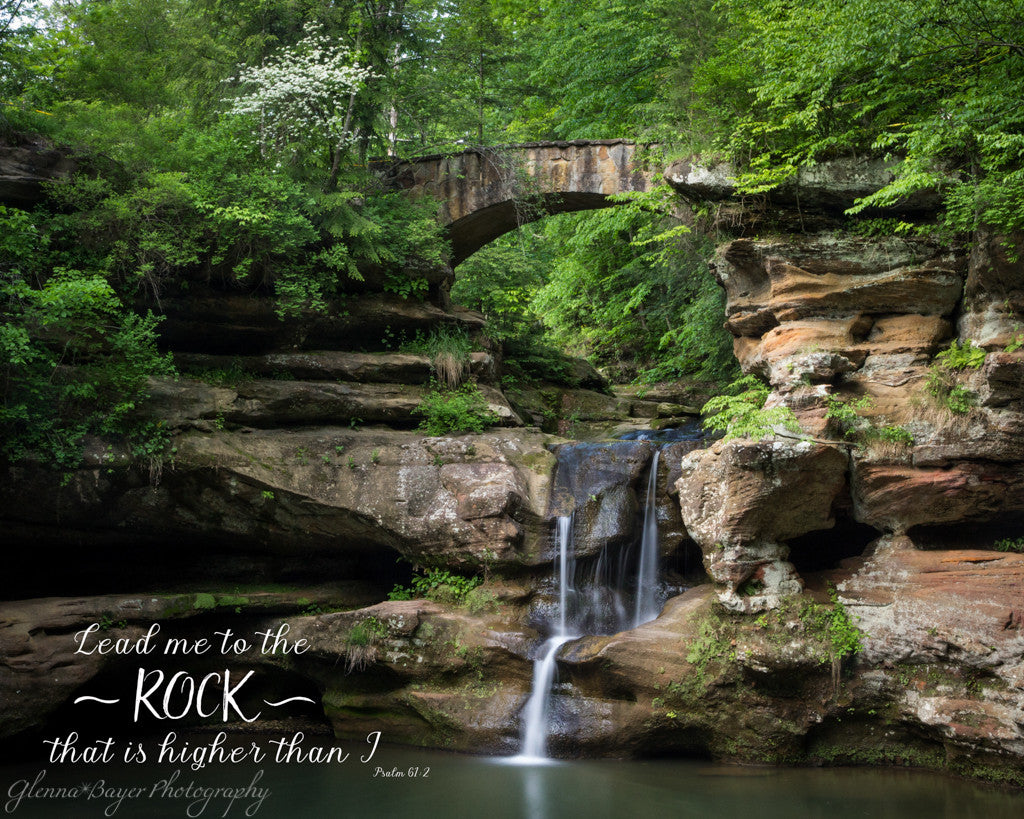 Upper Falls in Spring at Old Man's Cave in Ohio with scripture verse