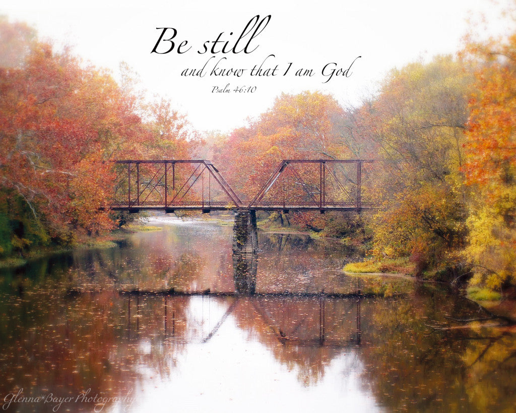 Old Falknor Road Bridge across Stillwater River in Autumn with scripture verse