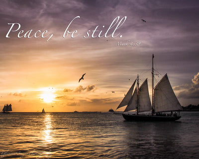 Sailing boat at sunset in Key West, Florida with scripture verse