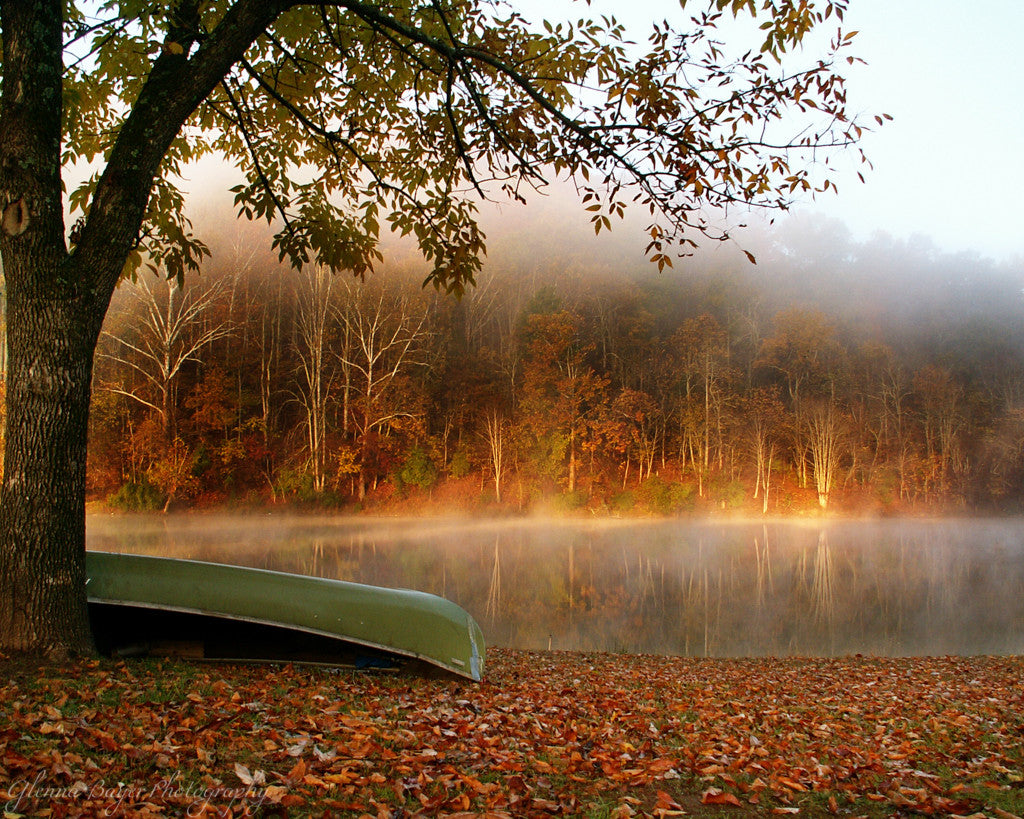 Canoe leaning against tree beside a lake on an autumn day at Beech Fork State Park.