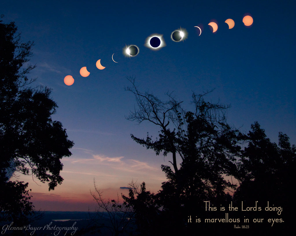 A composite of the different phases during a solar eclipse