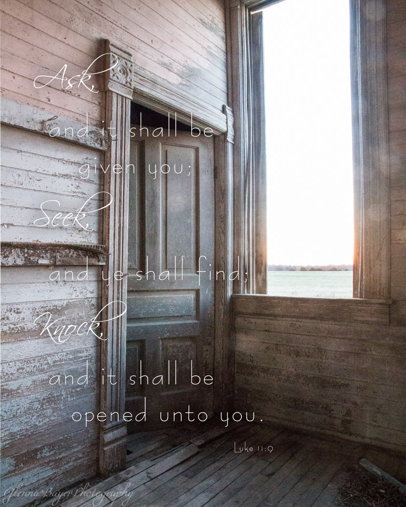 Old wooden school house door in Kansas with scripture verse