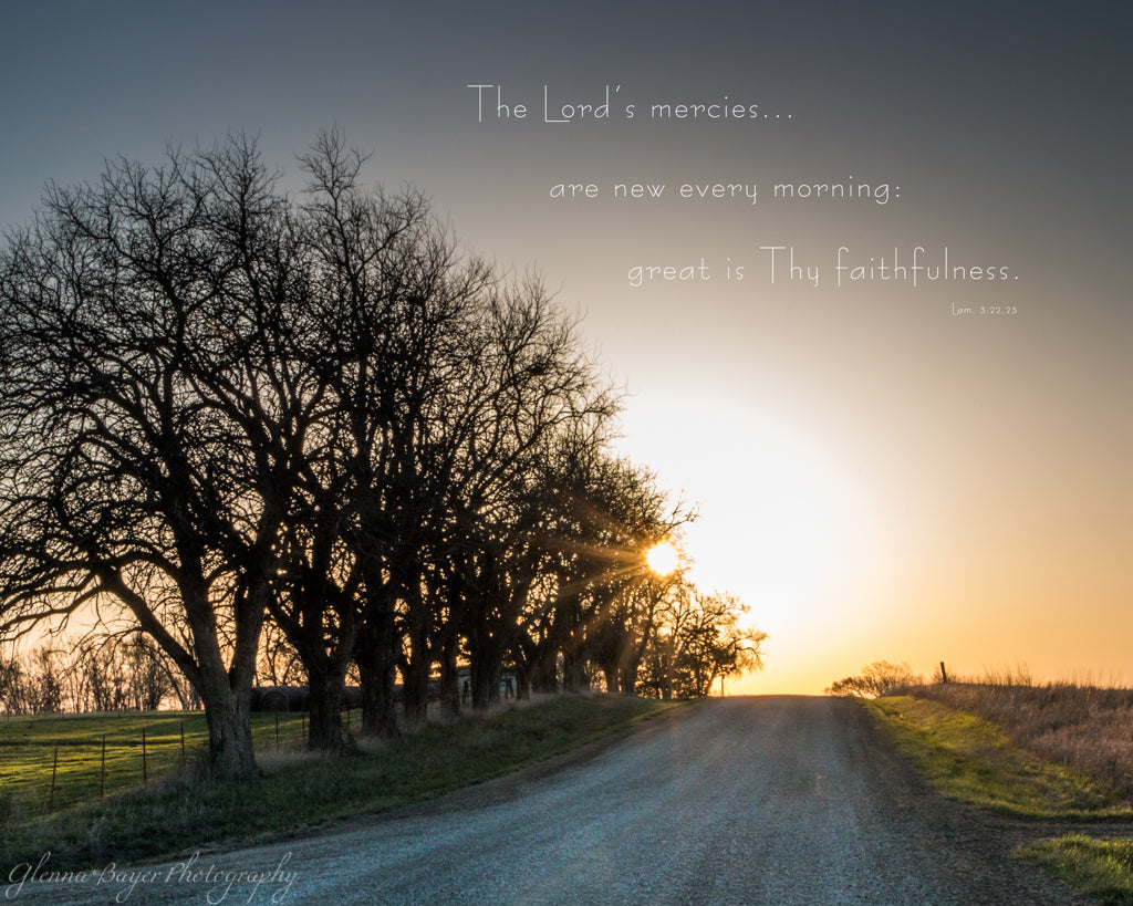 Gravel road and silhouette of trees on a Kansas Morning with scripture verse