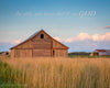 Kansas Barn and Grass. Blue, Green, Orange, Clouds, Bible Verse