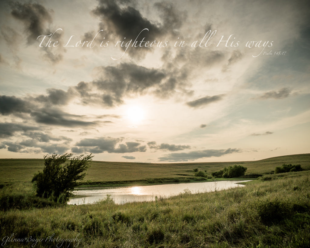 Pond and tree in the landscape of Flint Hills, Kansas with scripture verse