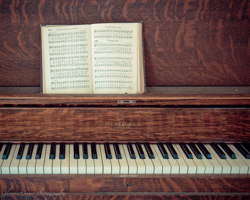 Old vintage piano and songbook
