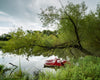 Kansas Pond and Paddleboat, Trees, Green, Gray, Red,