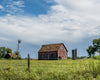 Kansas Barn, Windmill, Silo, Fence, Grass, Sky, Blue, Green, Red