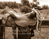 Kansas Saddle, Sepia, Bible Verse, Western