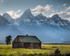 Cabin in the Tetons, Snow on Mountains, Grass, Tree, Blue, Green