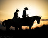 Horses and Riders Silhouette, Sunset, Black, Orange, Yellow